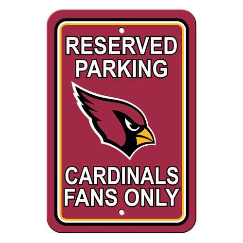 Arizona Cardinals Sign - Plastic - Reserved Parking - 12 in x 18 in