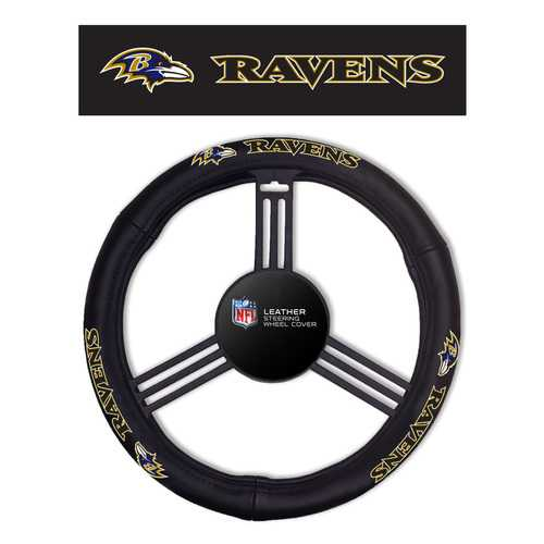 Baltimore Ravens Steering Wheel Cover - Leather