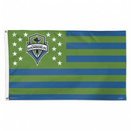 Seattle Sounders Flag 3x5 Deluxe Style Stars and Stripes Design