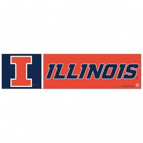 Illinois Fighting Illini Decal 3x12 Bumper Strip Style Special Order