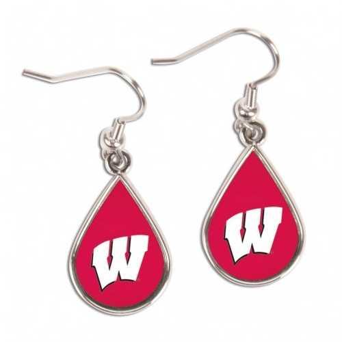 Wisconsin Badgers Earrings Tear Drop Style Special Order