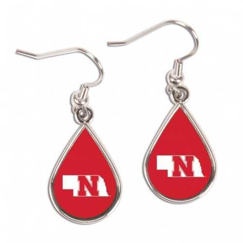 Nebraska Cornhuskers Earrings Tear Drop Style Special Order