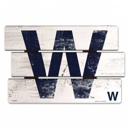 Chicago Cubs Sign 11x17 Wood Fence Style W Design