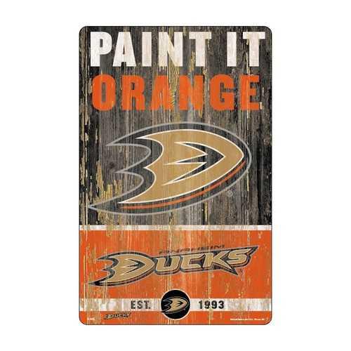 Anaheim Ducks Sign 11x17 Wood Slogan Design
