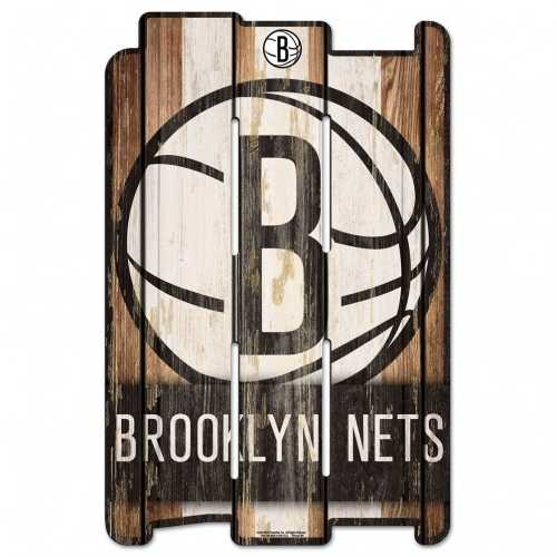 Brooklyn Nets Sign 11x17 Wood Fence Style