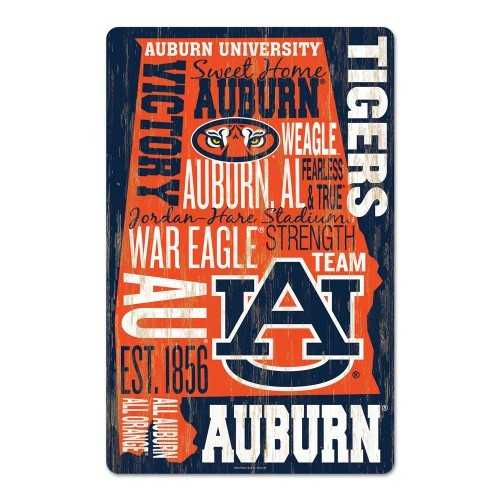 Auburn Tigers Sign 11x17 Wood Established Design