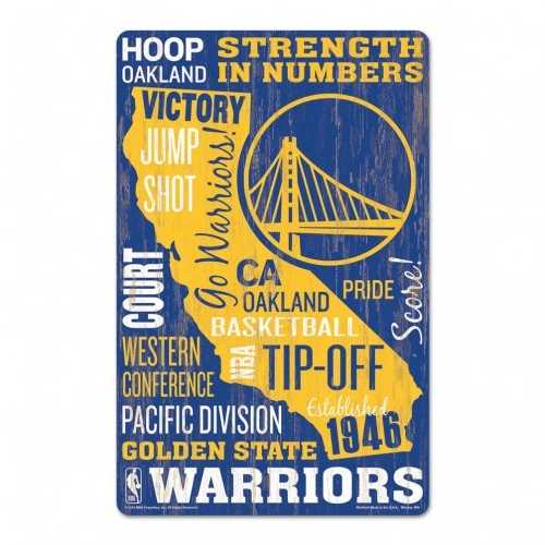 Golden State Warriors Sign 11x17 Wood Established Design
