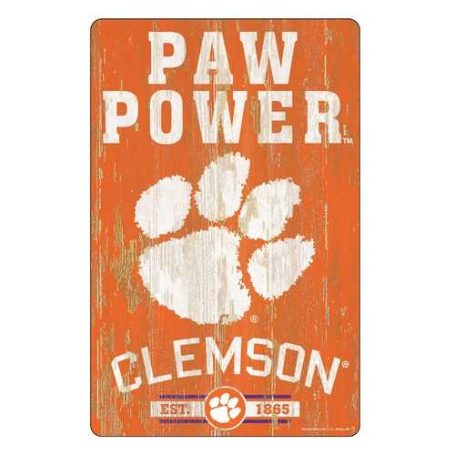 Clemson Tigers Sign 11x17 Wood Slogan Design