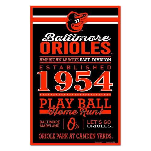 Baltimore Orioles Sign 11x17 Wood Established Design