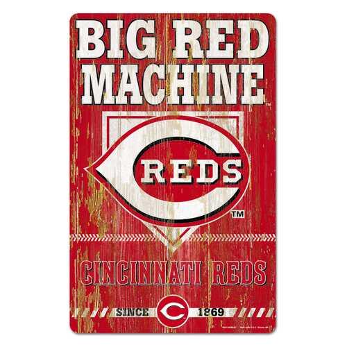 Cincinnati Reds Sign 11x17 Wood Slogan Design