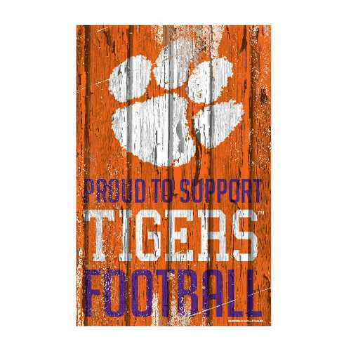 Clemson Tigers Sign 11x17 Wood Proud to Support Design