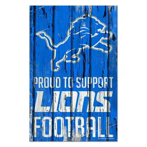 Detroit Lions Sign 11x17 Wood Proud to Support Design