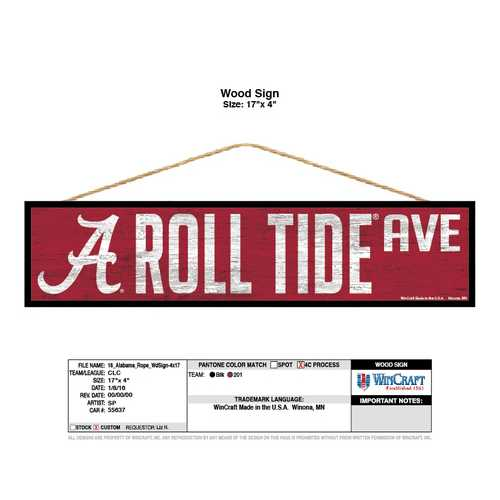 Alabama Crimson Tide Sign 4x17 Wood Avenue Design