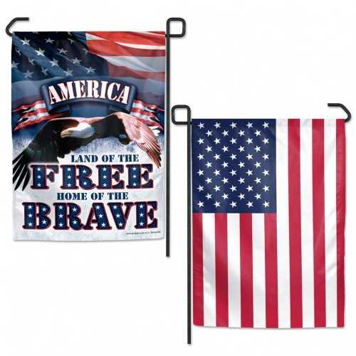 American Flag 12x18 Garden Style 2 Sided Free-Brave Special Order