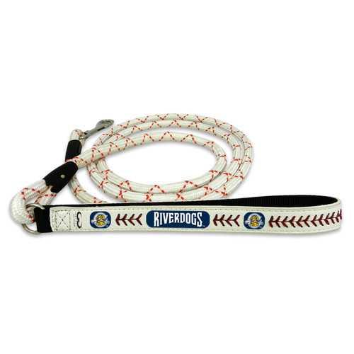 Charleston RiverDogs Pet Leash Leather Frozen Rope Baseball Size Medium