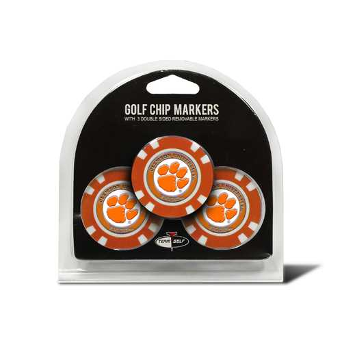 Clemson Tigers Golf Chip with Marker 3 Pack