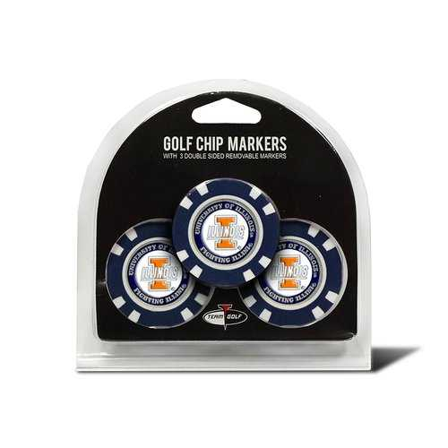 Illinois Fighting Illini Golf Chip with Marker 3 Pack