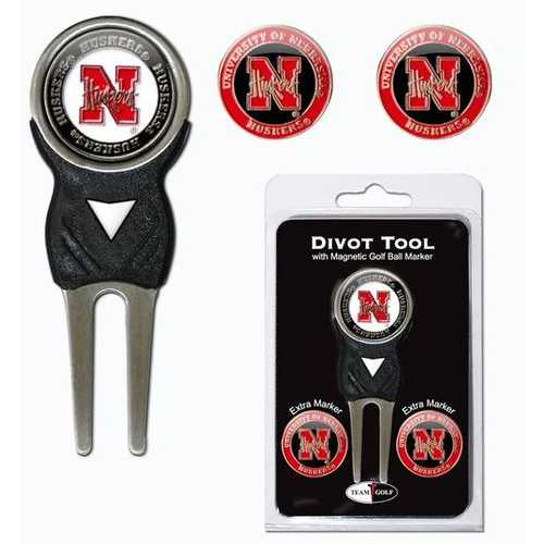 Nebraska Cornhuskers Golf Divot Tool with 3 Markers