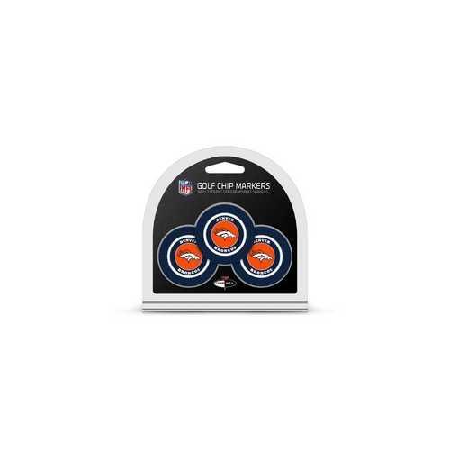 Denver Broncos Golf Chip with Marker 3 Pack