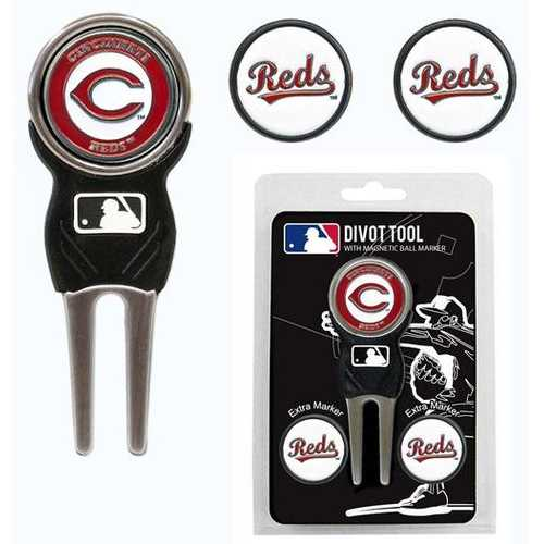 Cincinnati Reds Golf Divot Tool with 3 Markers Special Order