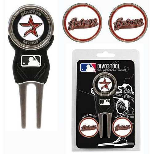 Houston Astros Golf Divot Tool with 3 Markers