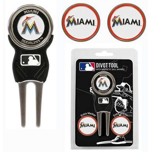 Miami Marlins Golf Divot Tool with 3 Markers - Special Order