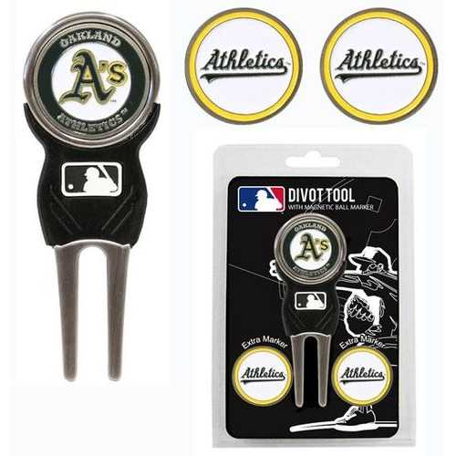 Oakland Athletics Golf Divot Tool with 3 Markers