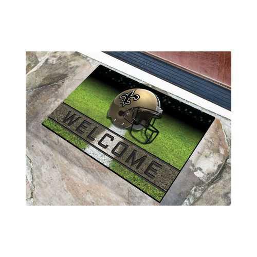 New Orleans Saints Door Mat 18x30 Welcome Crumb Rubber