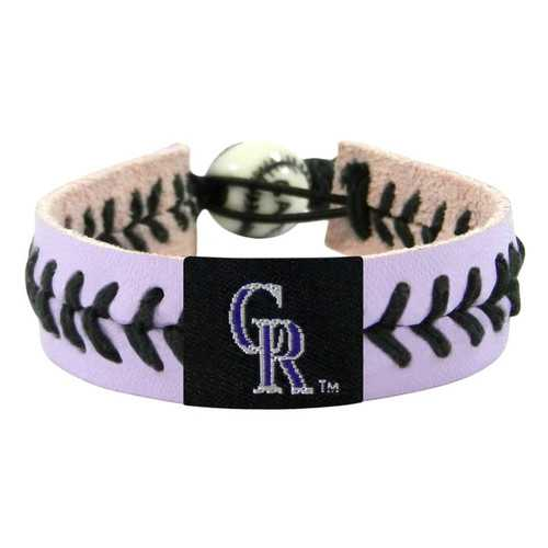 Colorado Rockies Bracelet Team Color Lavender Leather Black Thread Baseball