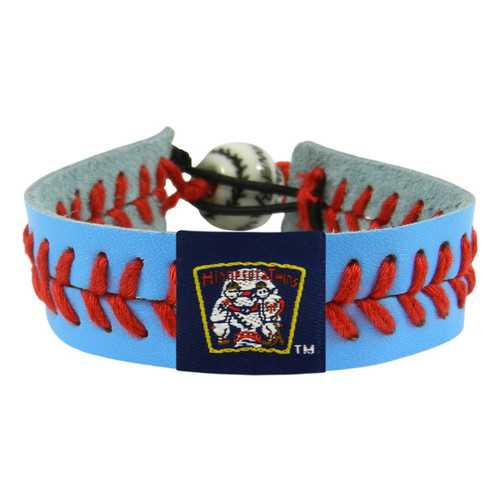 Minnesota Twins Bracelet Team Color Baseball Retro Mini and Paul Mascot Powder Blue Leather Red Thread