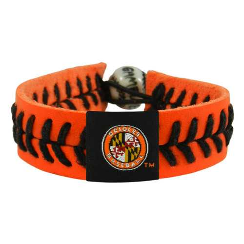 Baltimore Orioles Bracelet Team Color Baseball Jersey Sleeve Logo Orange Leather Black Thread