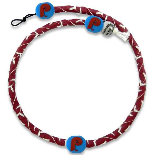 Philadelphia Phillies Retro P Logo Team Color Frozen Rope Baseball Necklace
