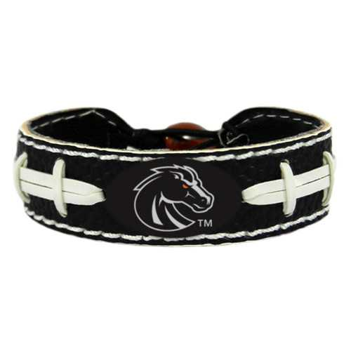 Boise State Broncos Bracelet Team Color Football Black Leather