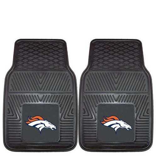 Denver Broncos Heavy Duty Vinyl Front Seat 2 Piece Car Mat Set