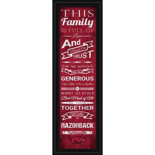 "Arkansas Razorbacks Family Cheer Print 8""x24"""