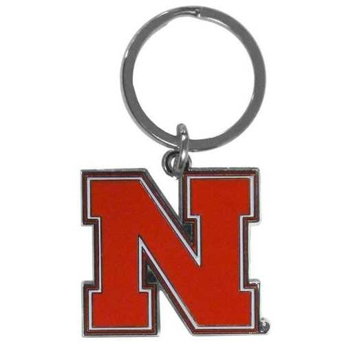 Nebraska Cornhuskers Chrome Logo Cut Keychain