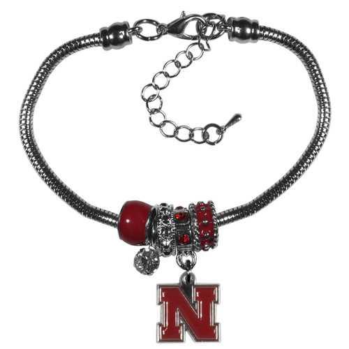Nebraska Cornhuskers Bracelet Euro Bead Style