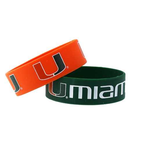 Miami Hurricanes Bracelets 2 Pack Wide
