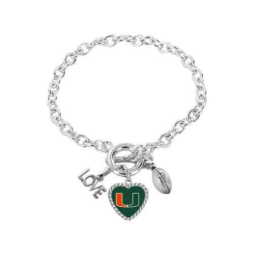 Miami Hurricanes Bracelet Charmed Sport Love Football