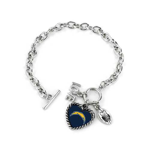 Los Angeles Chargers Bracelet Charmed Sport Love Football
