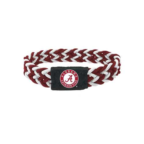 Alabama Crimson Tide Bracelet Braided Maroon and White
