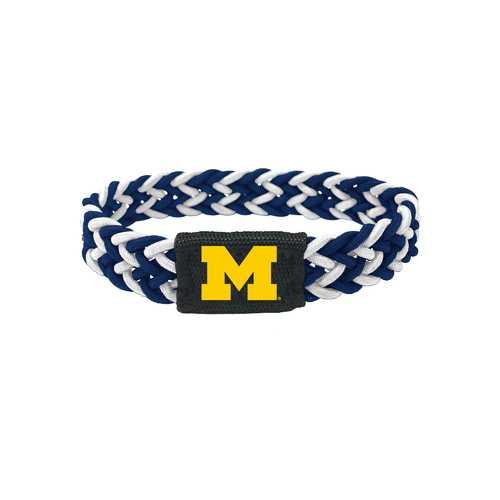 Michigan Wolverines Bracelet Braided Navy and White
