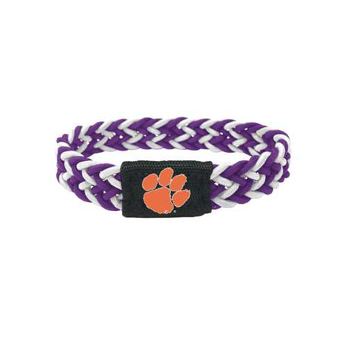Clemson Tigers Bracelet Braided Purple and White