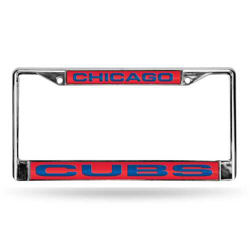 Chicago Cubs License Plate Frame Laser Cut Chrome Red
