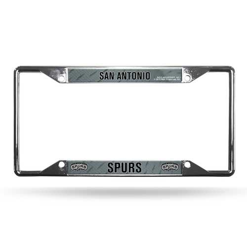 San Antonio Spurs License Plate Frame Chrome EZ View