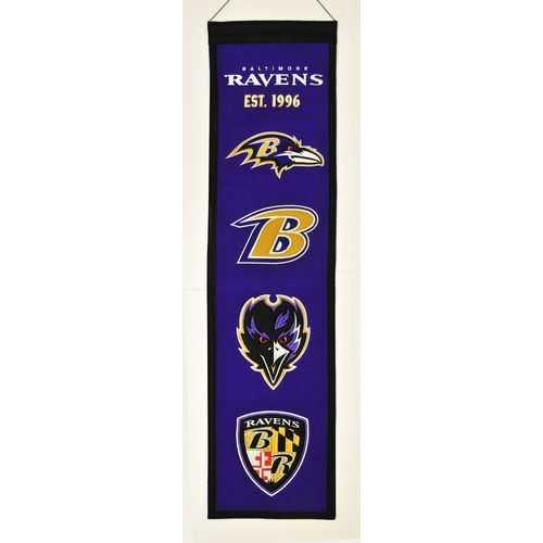 """Baltimore Ravens Wool Heritage Banner - 8""""x32"""""""