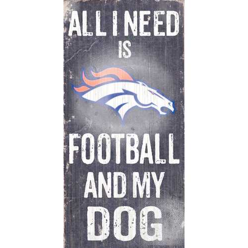 "Denver Broncos Wood Sign - Football and Dog 6""x12"""