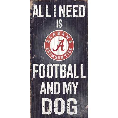 "Alabama Crimson Tide Wood Sign - Football and Dog 6""x12"""