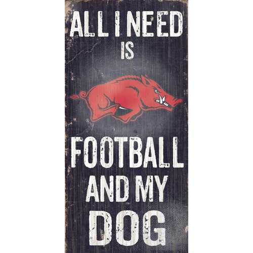 "Arkansas Razorbacks Wood Sign - Football and Dog 6""x12"""