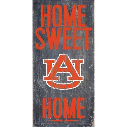 "Auburn Tigers Wood Sign - Home Sweet Home 6""x12"""